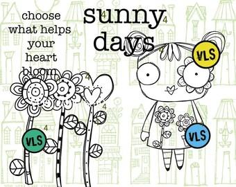 Sunny Days - 6 digi stamp bundle in png and jpg files