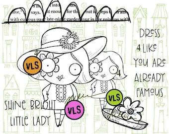 Little Miss - 6 digi stamp bundle in jpg and png files