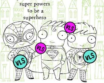 Superheros - 4 digi stamp bundle