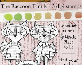 The Raccoon - 5 digi stamp set