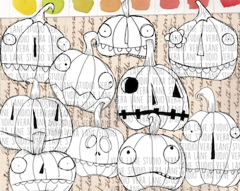 Jack O'lanterns - 10 whimsical and quirky digi stamps