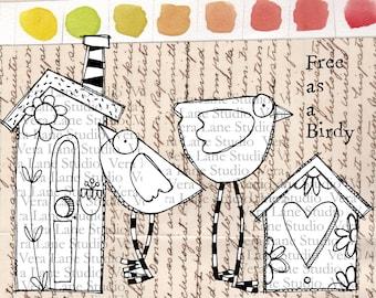 Bird  Houses - 5 digi stamps