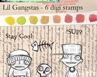 Lil' Gangstas -- 6 digi stamp set available for instant download