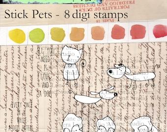 Stick Pets - 7 digi stamp bundle in jpg and png files