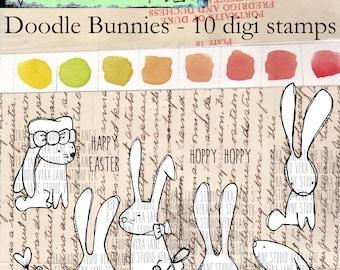Doodle Bunnies - 10 digi stamp value bundle in png and jpg files