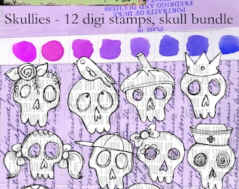 Skullies -- Quirky skull collection - 12 digi stamps