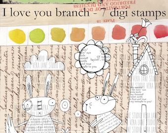 I Love You Branch - 7 digi image bundle in png files