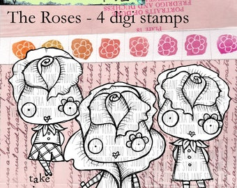 The Roses -- 4 digi stamp bundle in JPG and PNG files