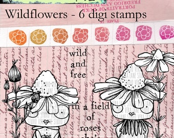 Wildflowers - 6 digi stamp bundle