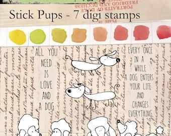 Stick Pups - 7 digi stamp bundle in jpg and png files
