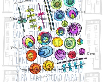 Circles and Stemps Collage Sheet -- 27 images colored on PDF sheet for instant download