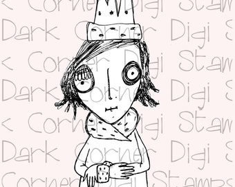 Queen - quirky digi stamp character from the Dark Corner Collection available for instant download
