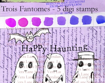 Trois Fantomes - whimsical and quirky ghostly trio with a batty bat and sentiment; 5 digi stamps available for instant download