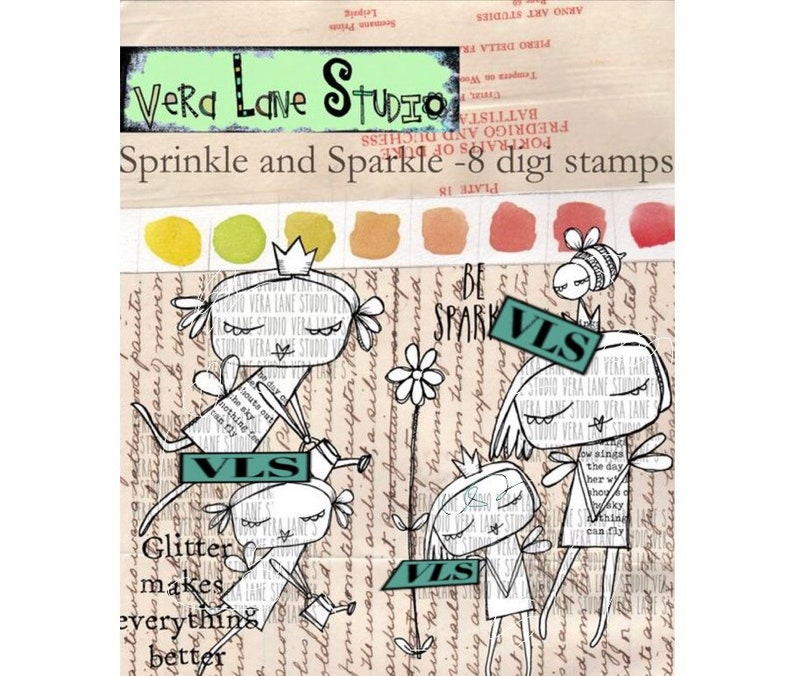 Sprinkle and Sparkle  fairy sisiters in an 8 digi stamp set image 0
