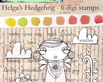 Helga's Hedgehog - 6 digi stamp bundle