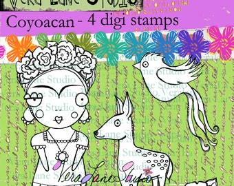 Coyoacan - a whimsical digi stamp set with Frida Kahlo and her animals