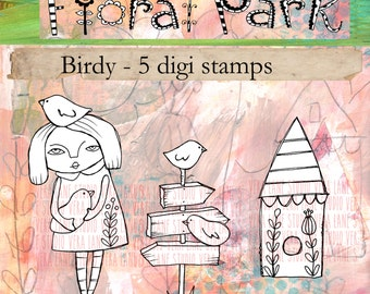 Birdy - Whimsical gal with birdhouse and birds; 5 image digi stamp set