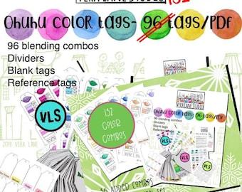 Ohuhu color blending tags - 15 PDF pages - 136 color blend tags