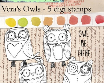 Vera's Owls - a whimsical group of four stitched digi stamp owls and a sentiment