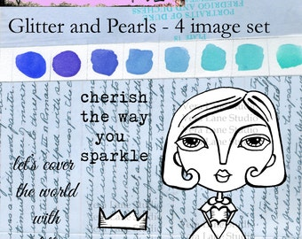Glitter and Pearls - a whimsical digi stamp set with sentiments ready for instant download from Vera LAne Studio