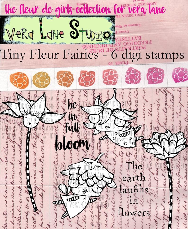 Tiny Fleur Fairies  6 digi stamp bundle image 0