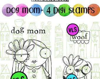 Dog Mom - 4 digi stamp bundle