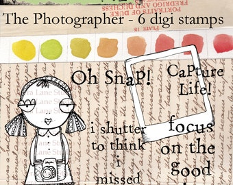 Photographer digi stamp set - six image set for personal paper crafting available in instant download.