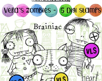 Quirky Zombie couple and cat with sentiment - 5 digi stamp set in png and jpg