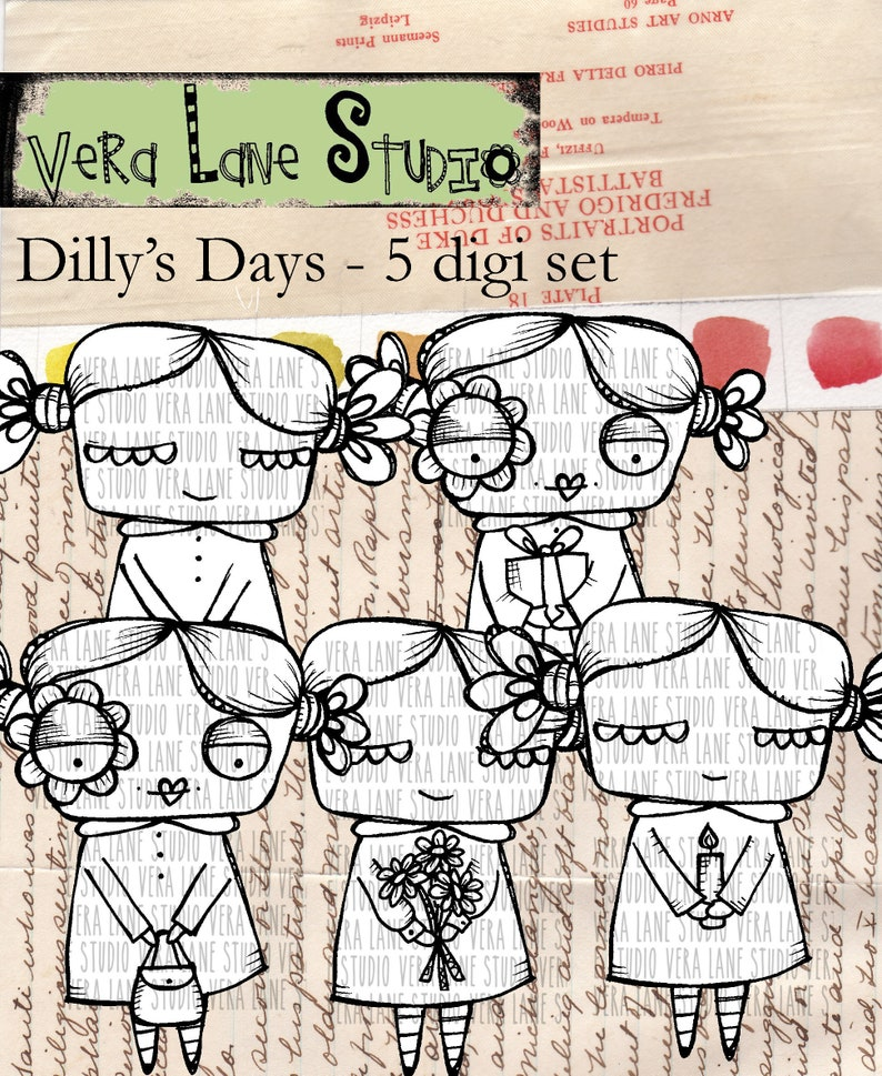 Dilly's Days  5 digi stamp bundle image 0