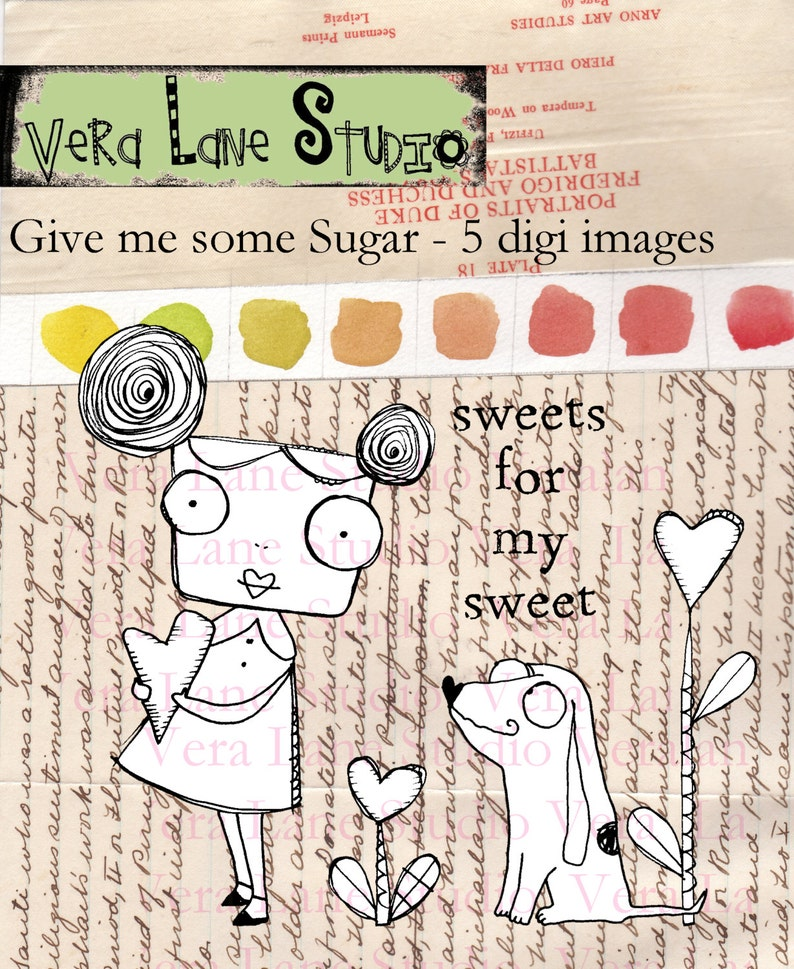 Give Me SOme Sugar Whimsical girl and dog in heart garden  image 0