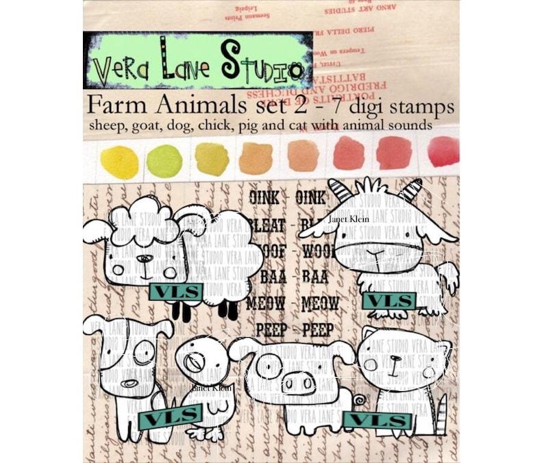 Farm Animals Set 2  7 digi stamps image 0