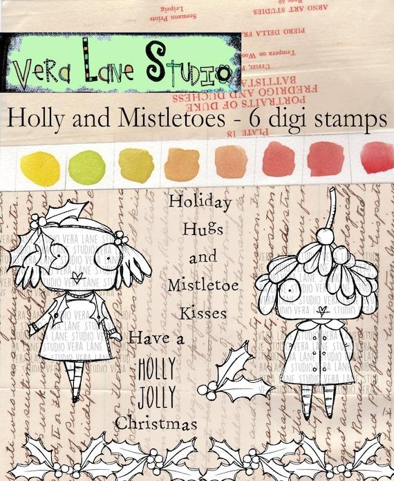 Holly and Mistletoes - whimsical 6 digi stamp bundle