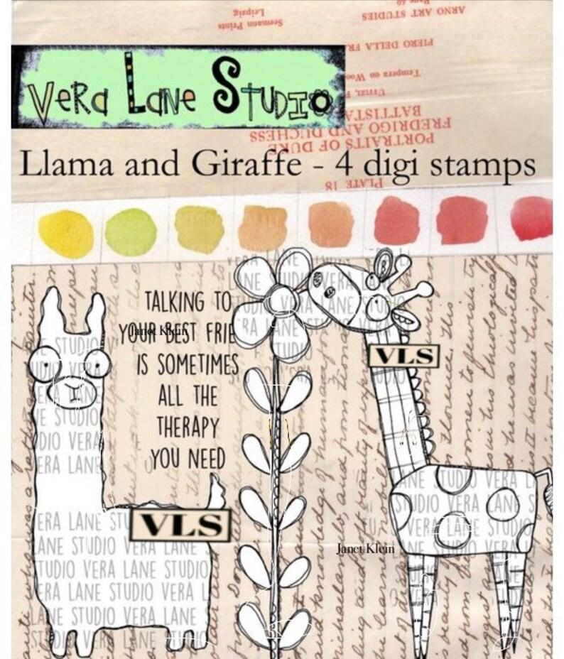LLama and Giraffe  4 digi stamp set in jpg and png files image 1