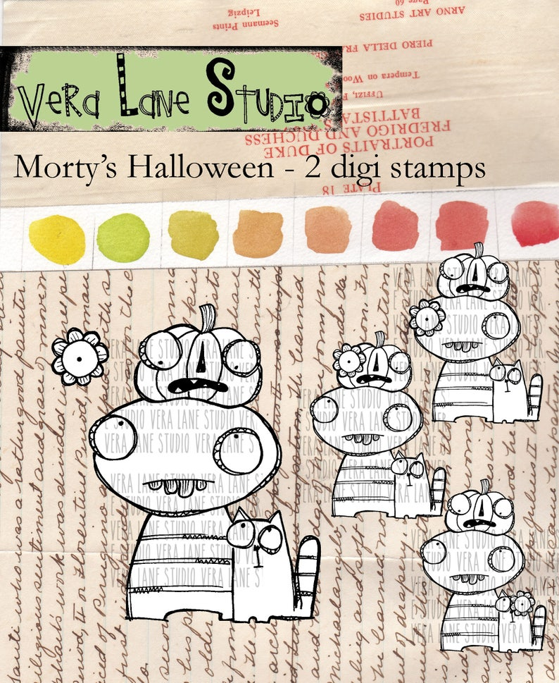 Morty's Halloween  quirky two digi image stamp set image 1