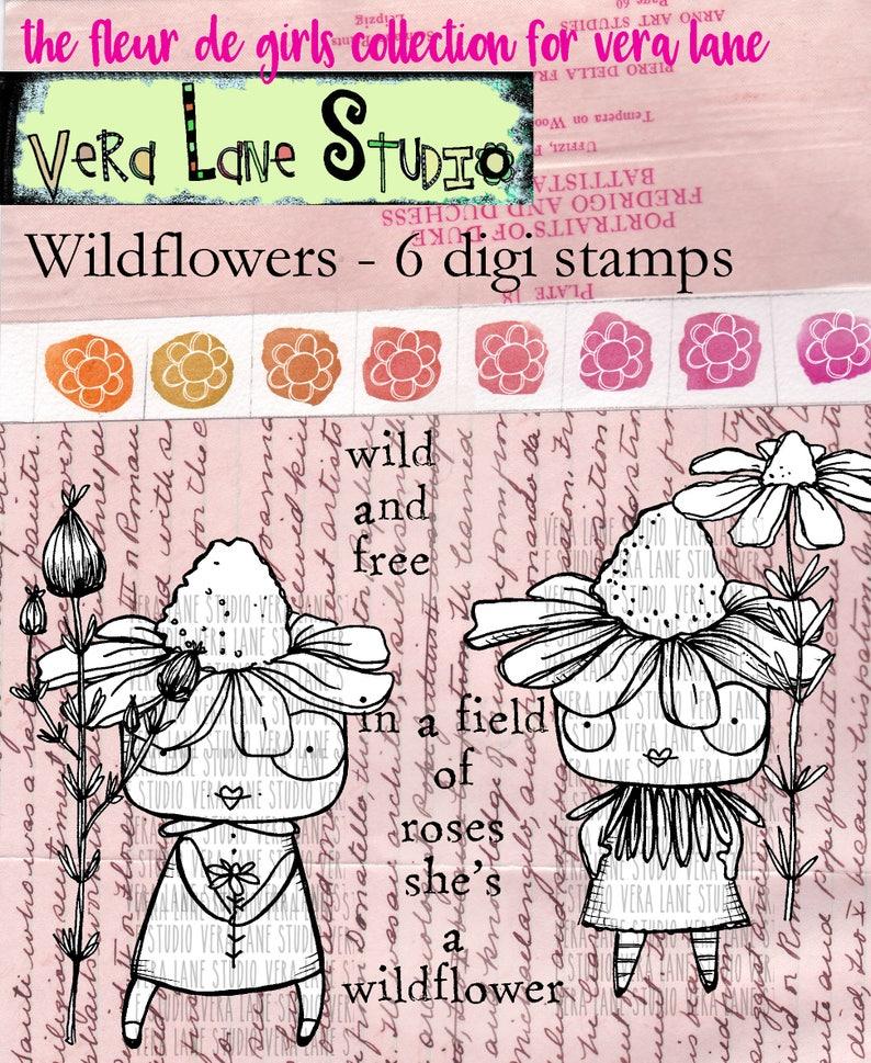 Wildflowers  6 digi stamp bundle image 0