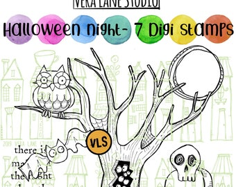 Halloween Night - 7 spooky Halloween digi stamps available for instant download