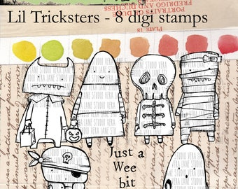 Lil Tricksters - 8 digi stamp set in png and jpg files for instant download