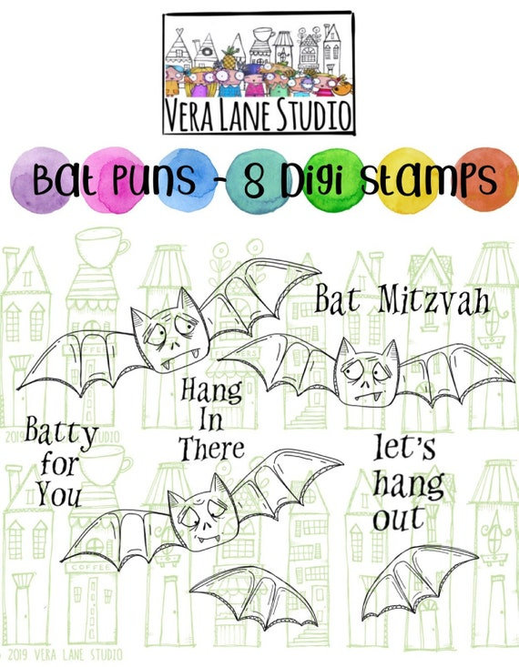 8 digi stamps in jpg and png high-resolution files Bat Puns