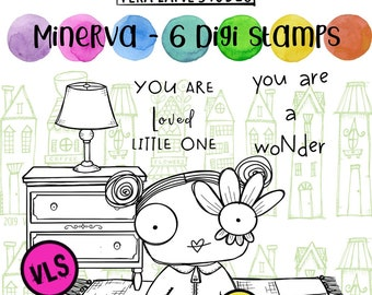 Minerva - 6 digi stamp set in jpg and png files