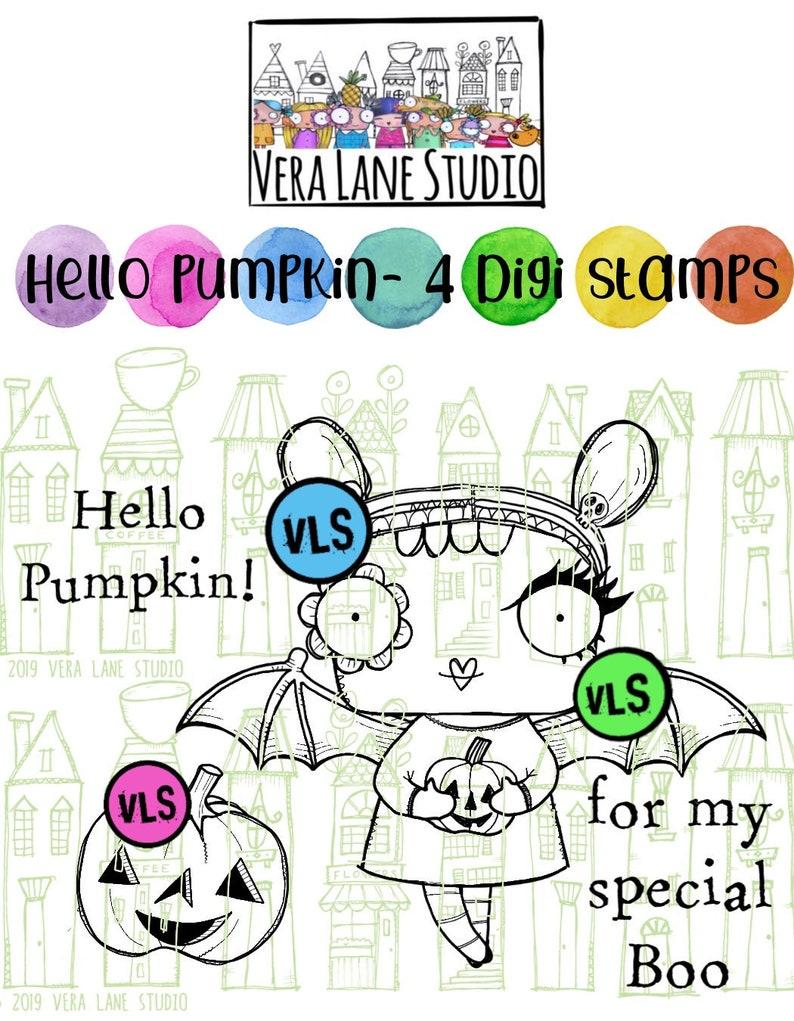 Hello Pumpkin cute bat girl in 4 digi stamp bundle with jpg image 1
