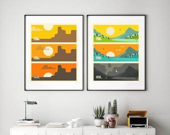 2 RV Travel Posters (Giclée Fine Art Prints or Photo Paper Prints) by Jazzberry Blue (Unframed)