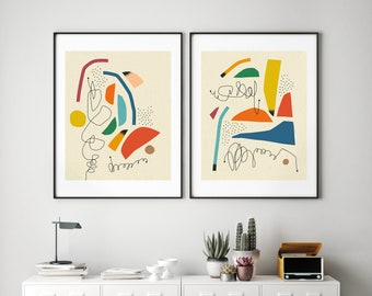 2 Minimal, Abstract Prints (Giclée Fine Art Prints or Photo Paper Prints) 'EXPRESSION 7 & 8' (Unframed)