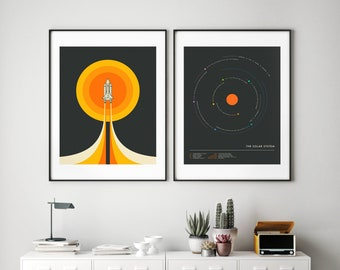 2 Minimal Space Travel Posters (Giclée Fine Art Prints or Photo Paper Prints) Solar System and NASA Space Shuttle (Unframed)
