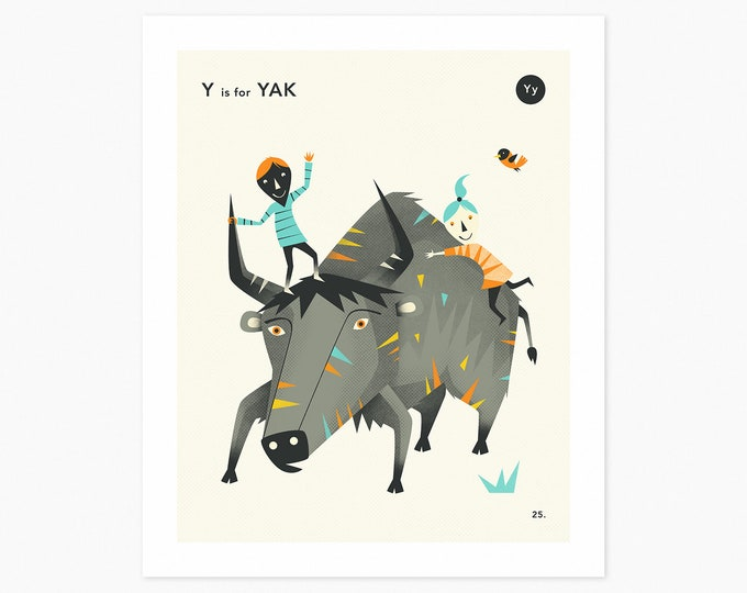 Y is for YAK (Fine Art Print) Animal Alphabet Art by Jazzberry Blue