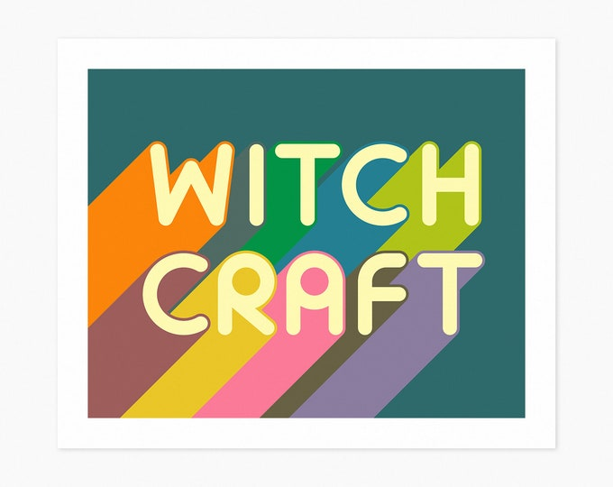 WITCHCRAFT (Fine Art Print) Colorful, Minimal Typography