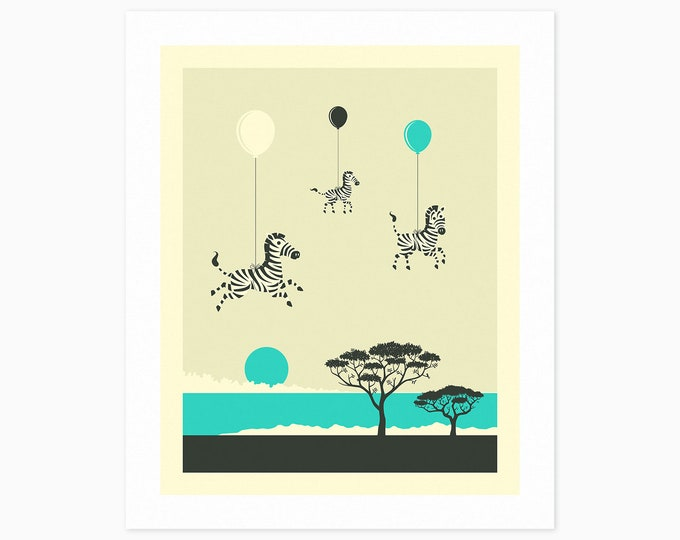 FLOCK OF ZEBRAS (Fine Art Print) Kids Room Wall Art