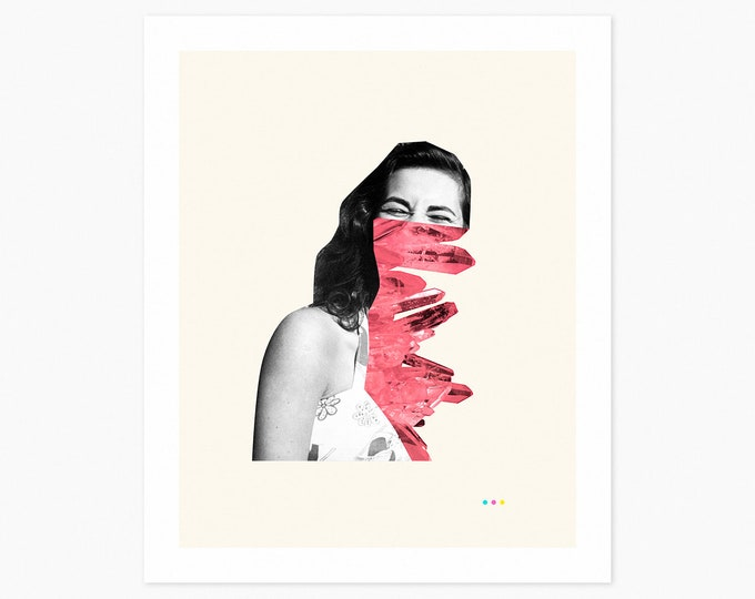 SMILE (Fine Art Print) Surreal Collage by Jazzberry Blue