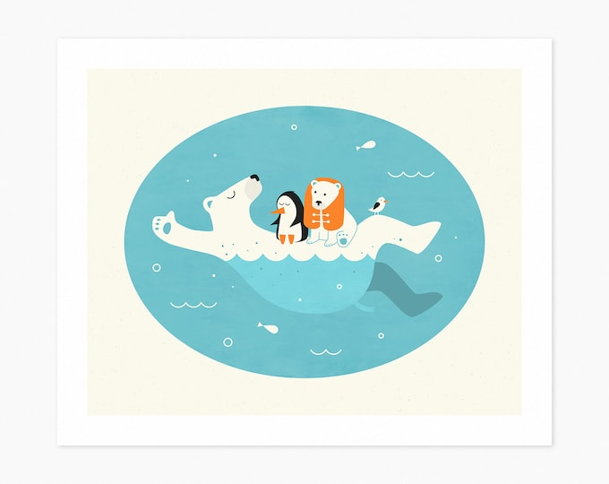 SWIMMING LESSONS (Fine Art Print) Polar Bear Art for Kids