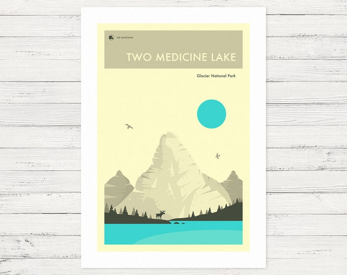TWO MEDICINE LAKE (Fine Art Print) Glacier National Park by Jazzberry Blue