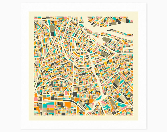 AMSTERDAM Street Map (Fine Art Print) by Jazzberry Blue